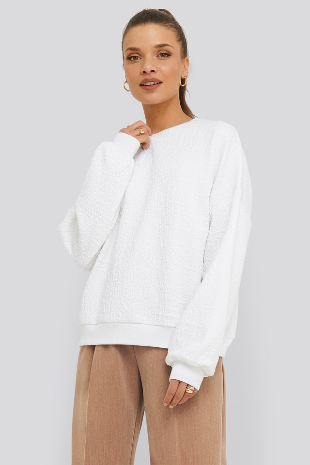 Structured High Neck Sweater White