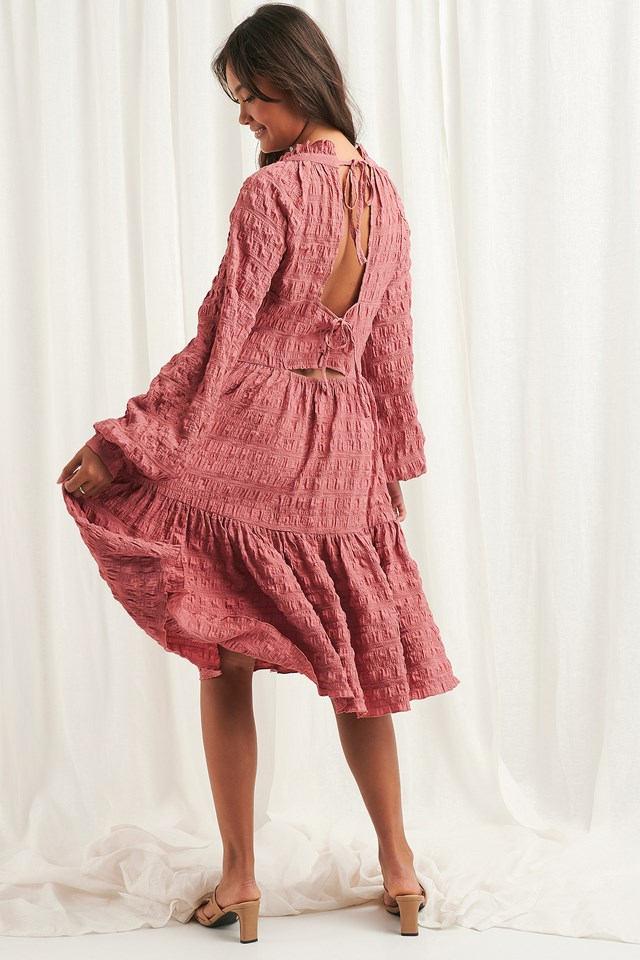 Structured Open Back Dress Dark Dusty Pink