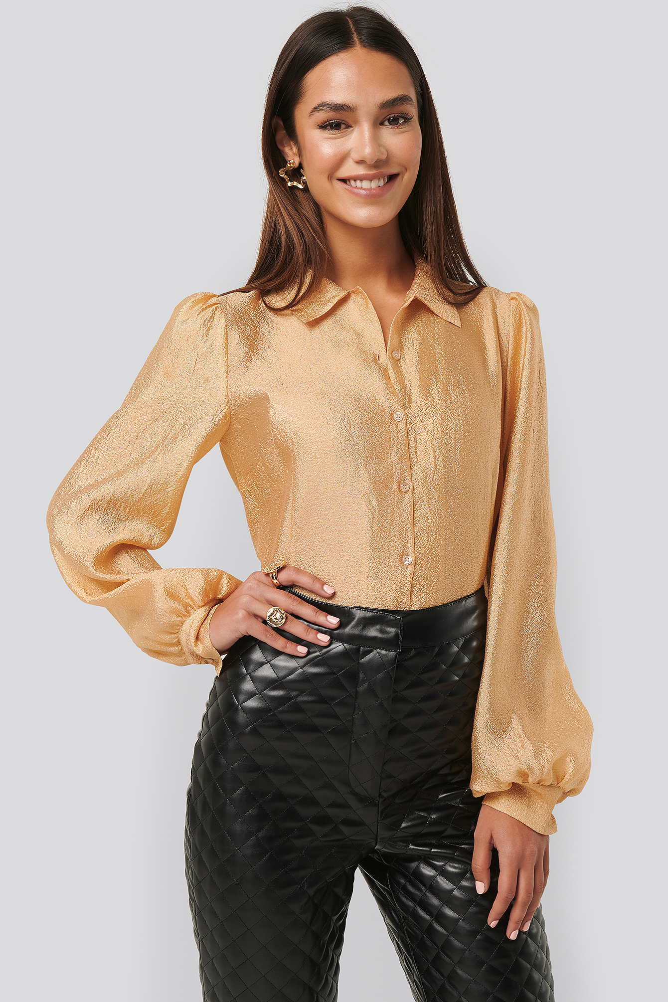 Peach Structured Organza Balloon Sleeve Blouse