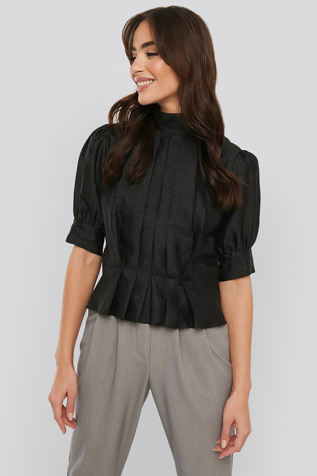 Structured Organza Gathered Blouse Black