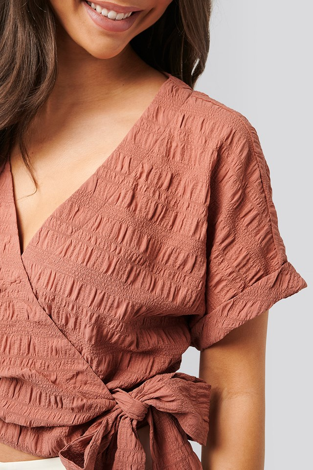 Pink Structured Overlap Blouse