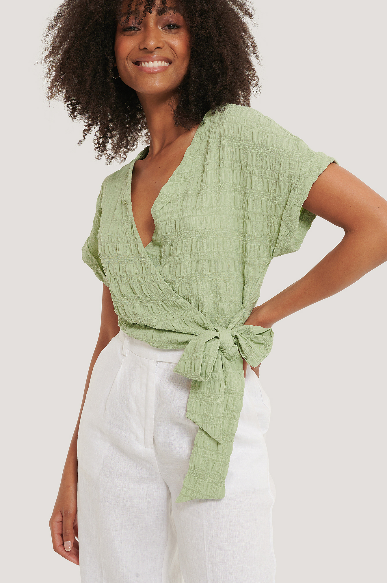 Mint Structured Overlap Blouse