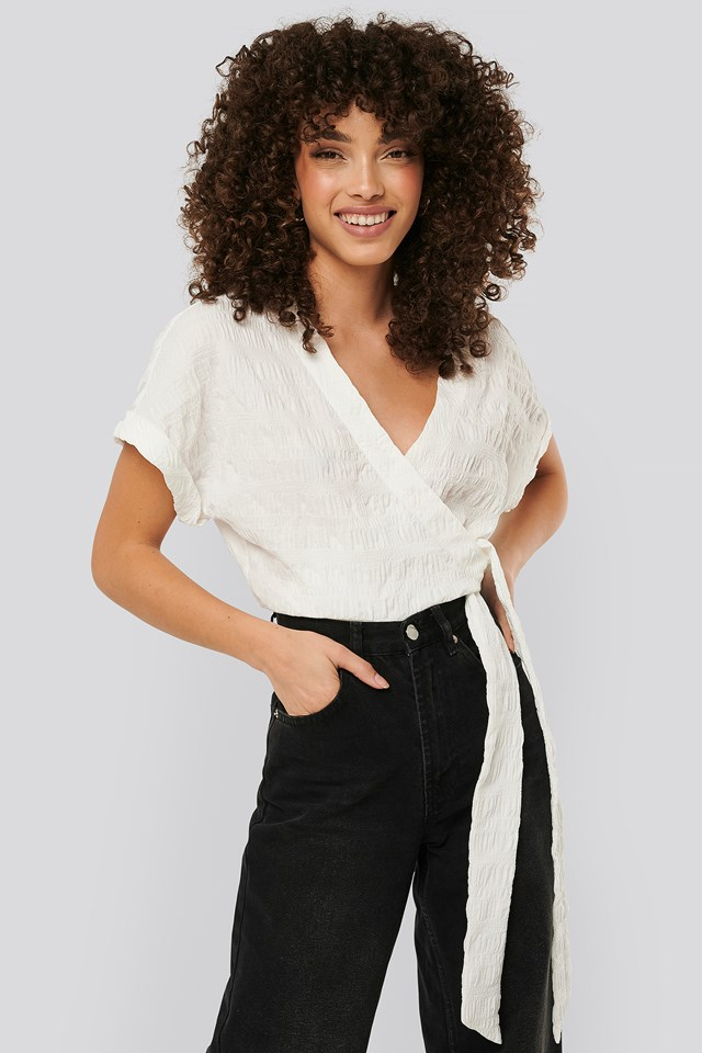 White Structured Overlap Blouse