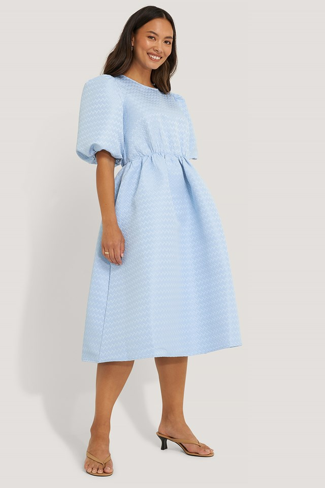 Structured Puff Dress Light Blue