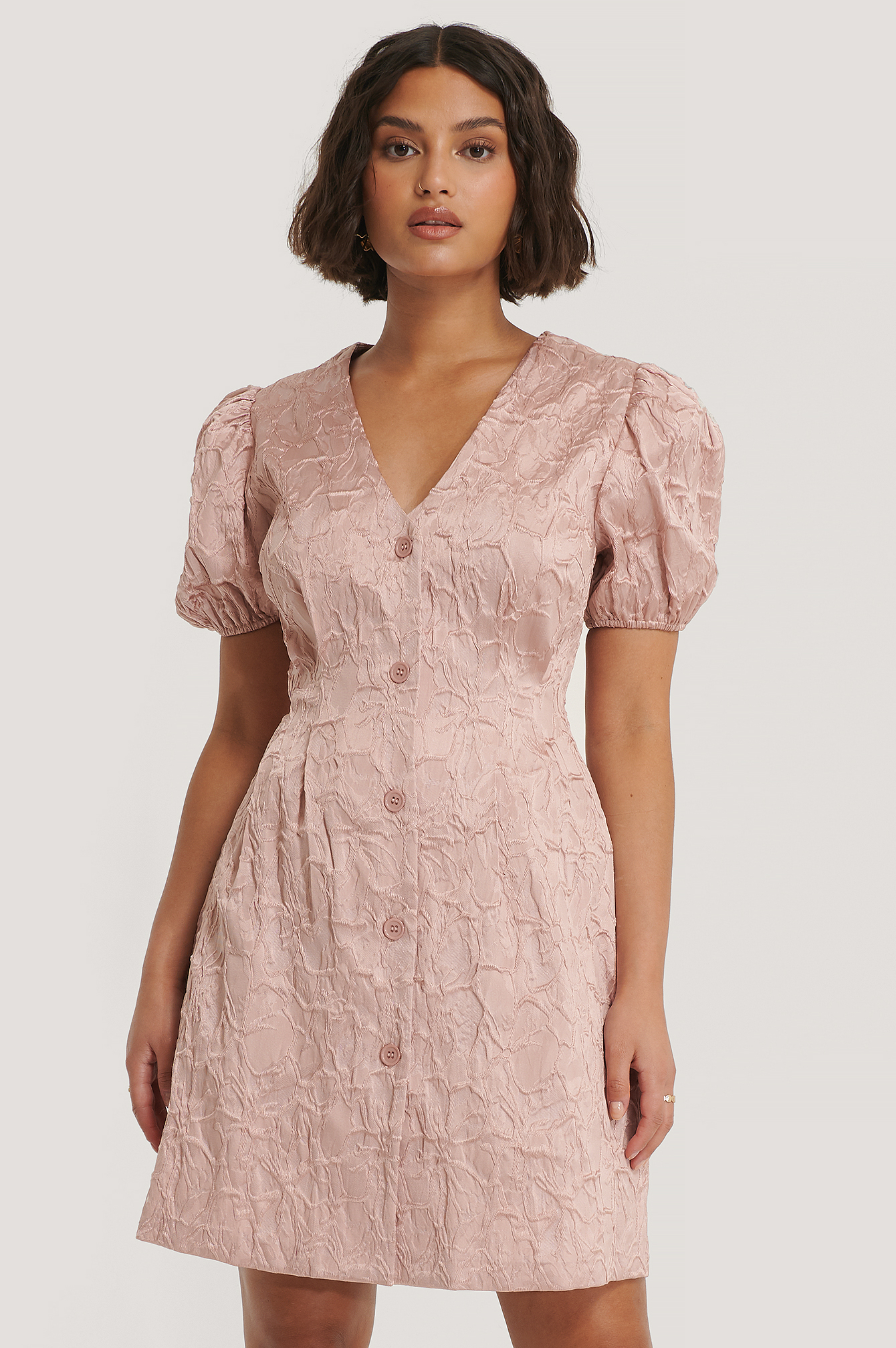 Dusty Pink Structured Puff Sleeve Mini Dress