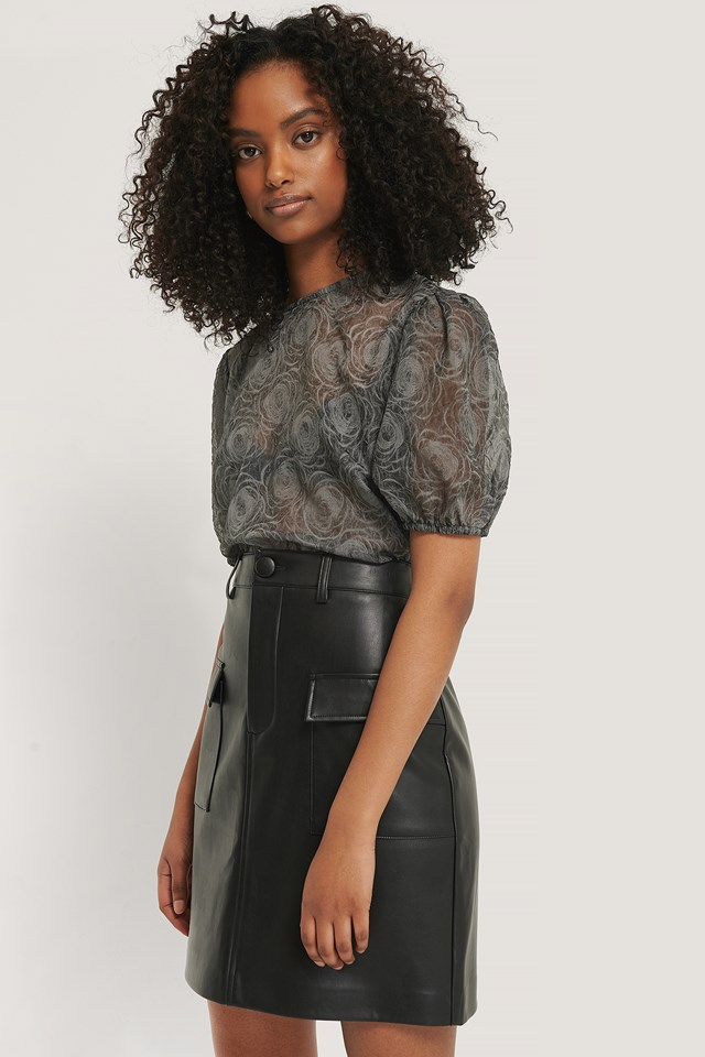 Black Structured Rose Puff Blouse