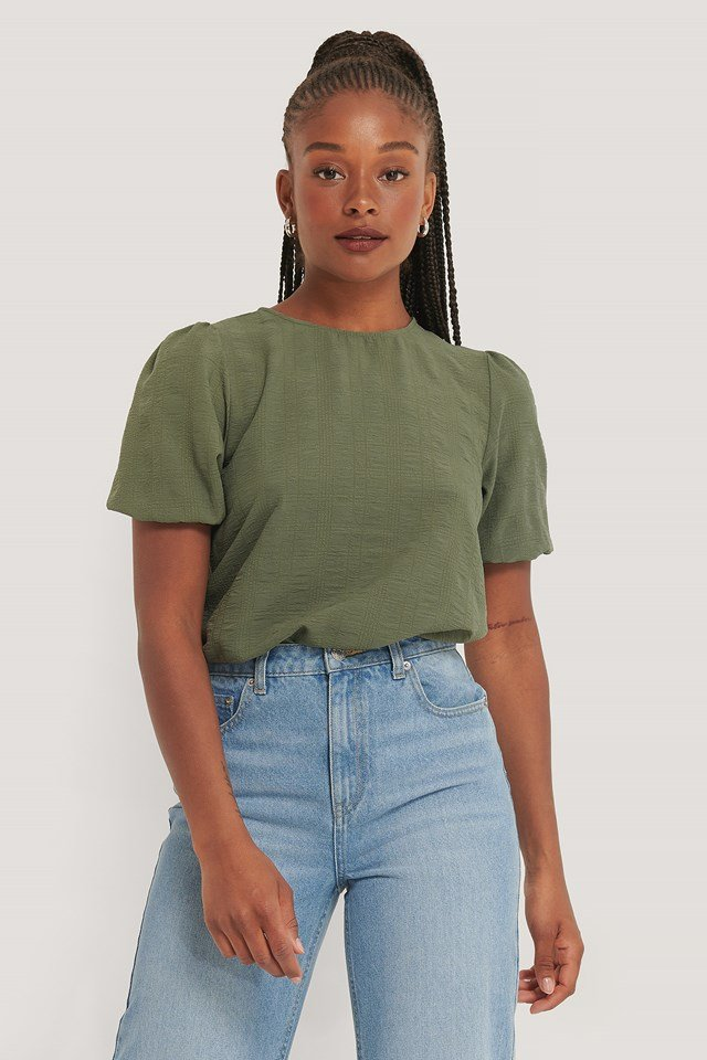 Structured Short Sleeve Blouse Khaki