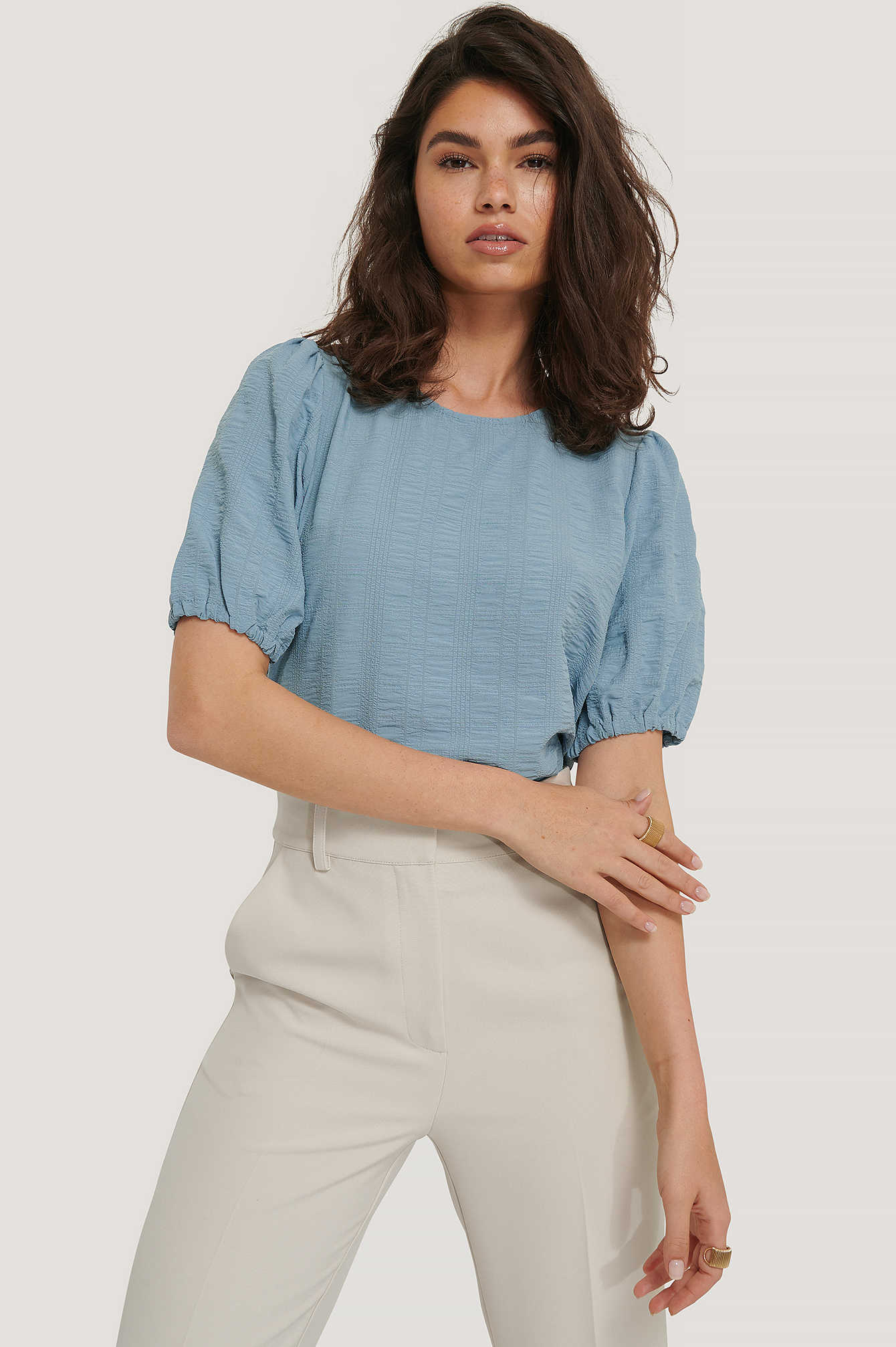 Dusty Blue Structured Short Sleeve Blouse