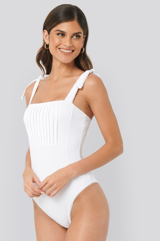 White Structured Tie Shoulder Swimsuit