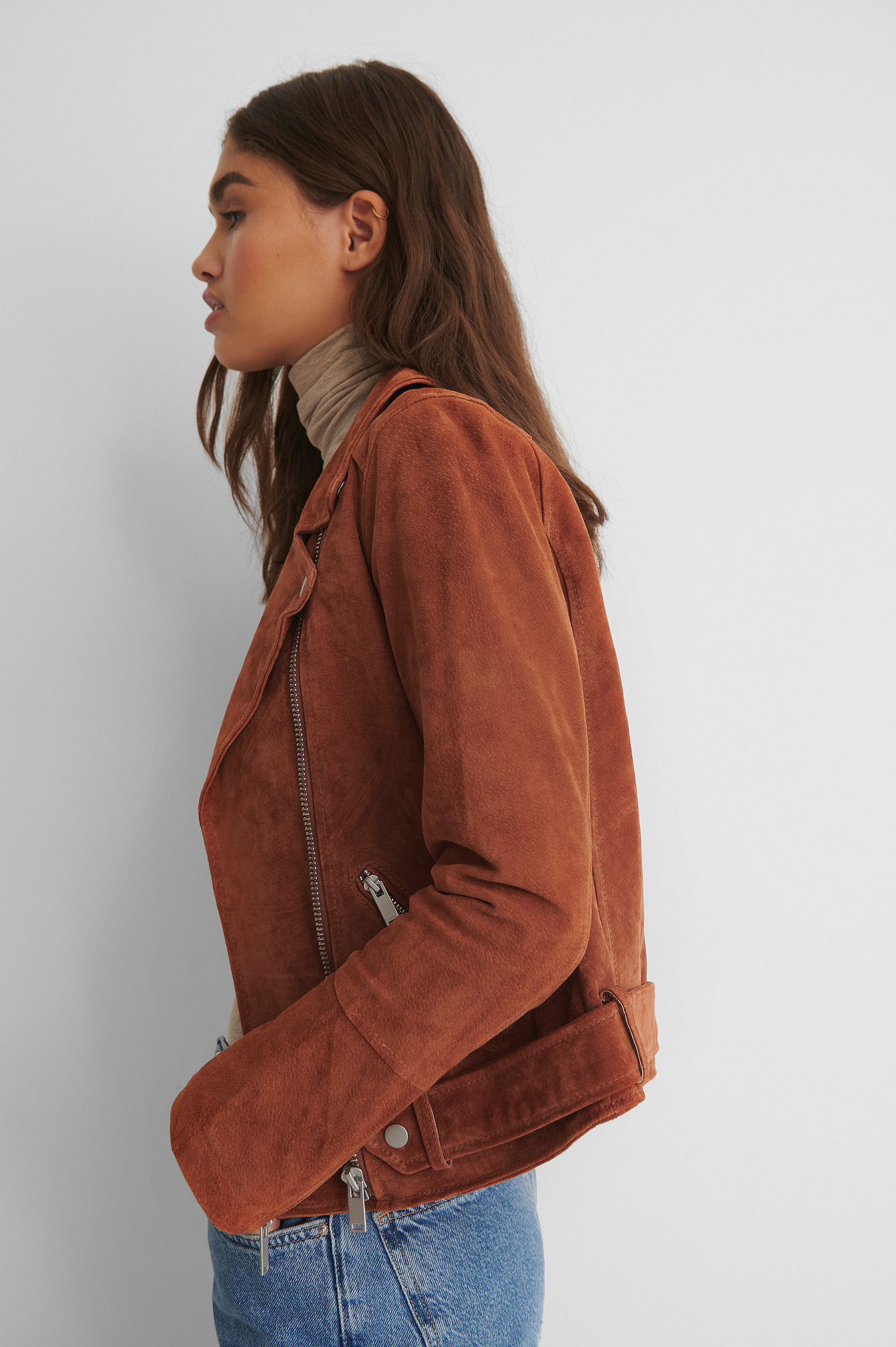 Burnt Orange Suede Biker Jacket