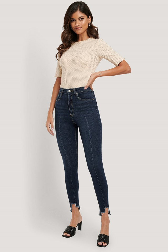 Super High Waist Asymmetrical Hem Jeans Dark Blue