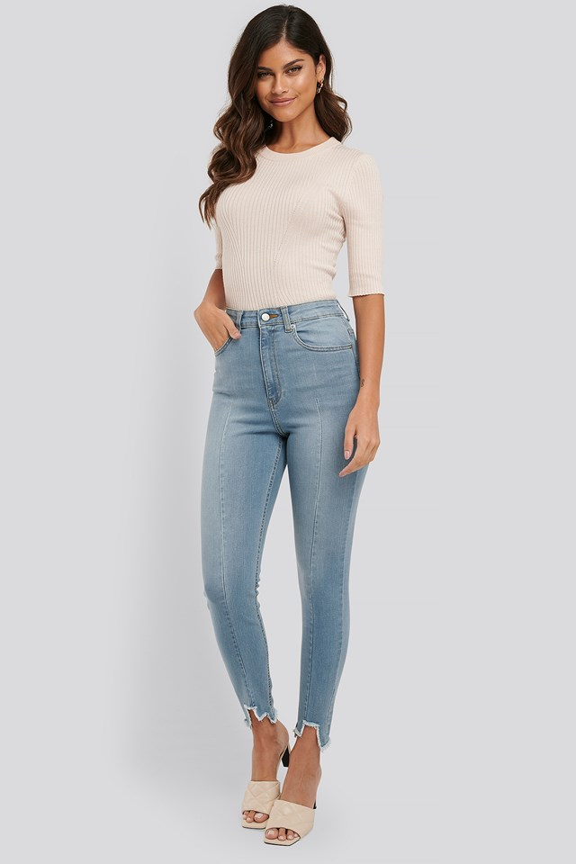 Super High Waist Asymmetrical Hem Jeans Light Blue