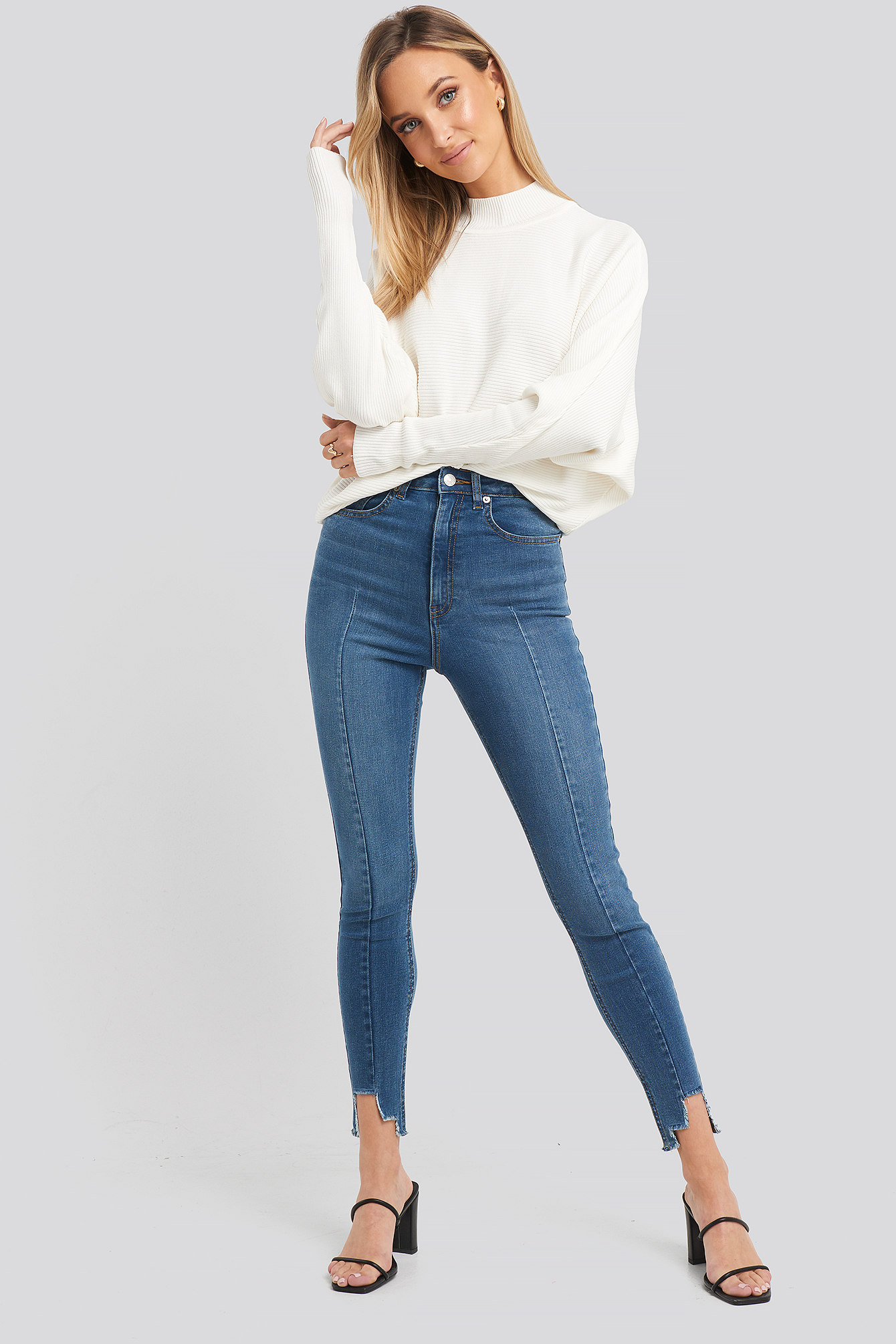 Mid Blue Super High Waist Asymmetrical Hem Jeans