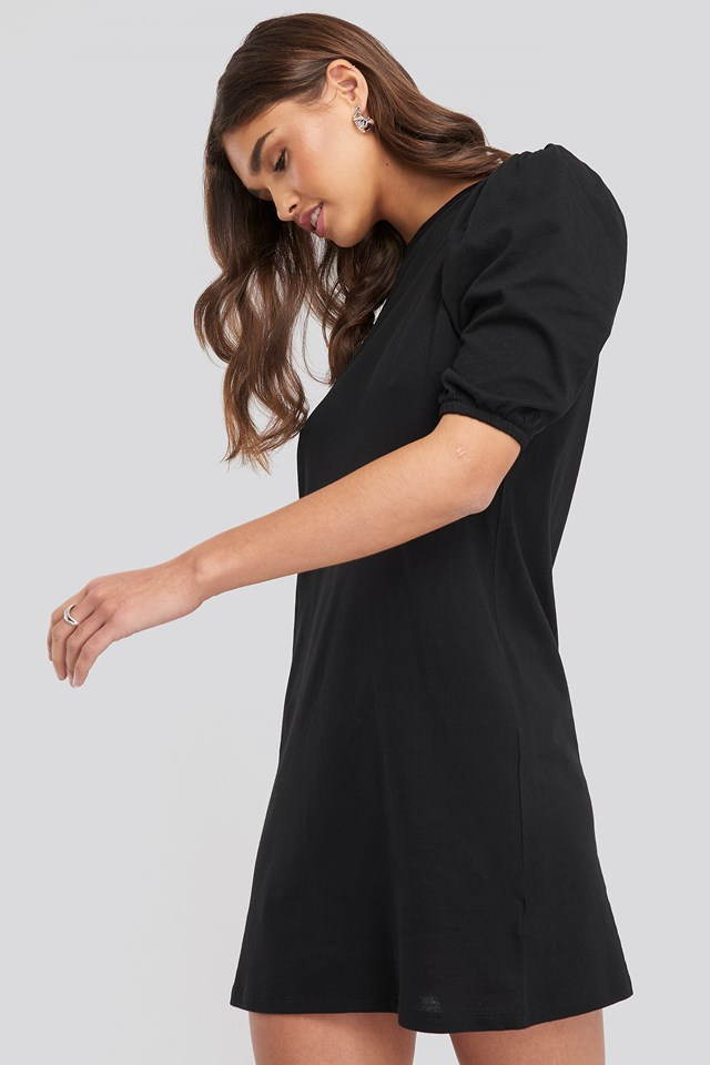Black T-shirt Puff Sleeve Dress