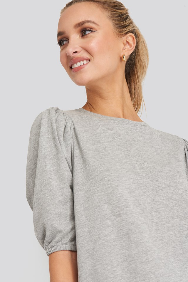 T-shirt Puff Sleeve Dress Grey Melange