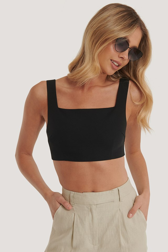 Tailored Cropped Top Black