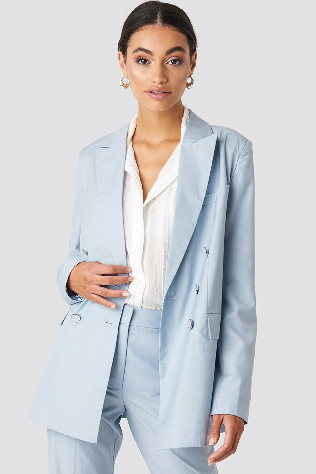 Tailored Double Breasted Blazer Light Blue