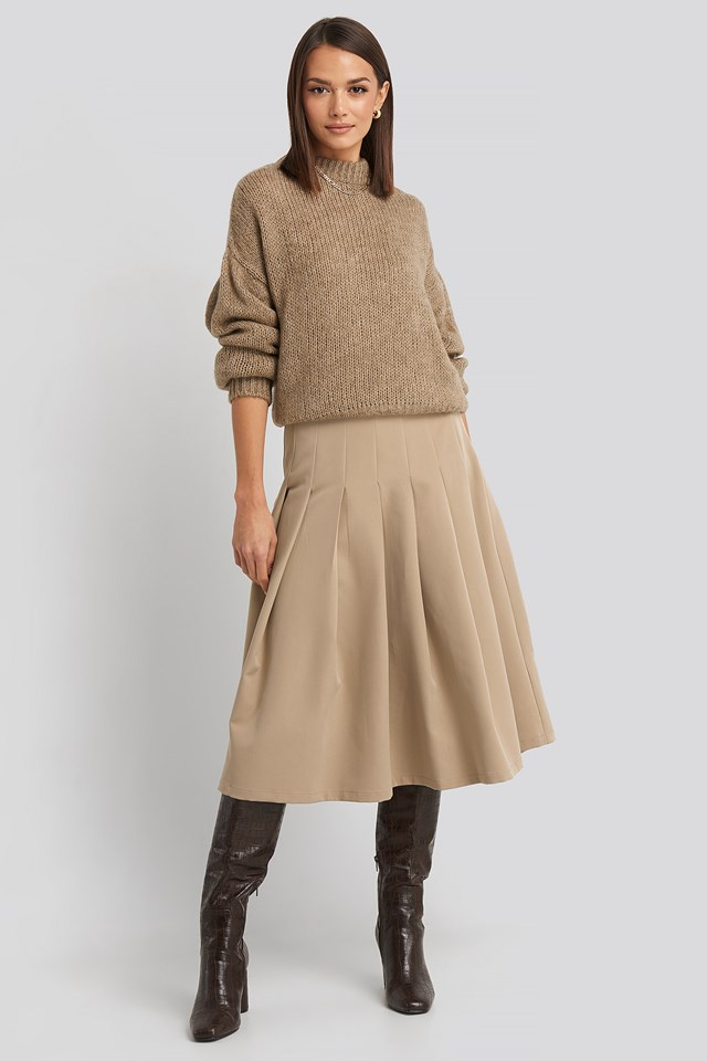 Beige Tailored Pleated Midi Skirt
