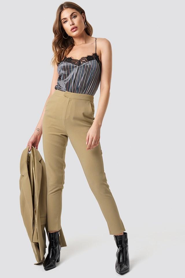Tailored Suit Pants Beige