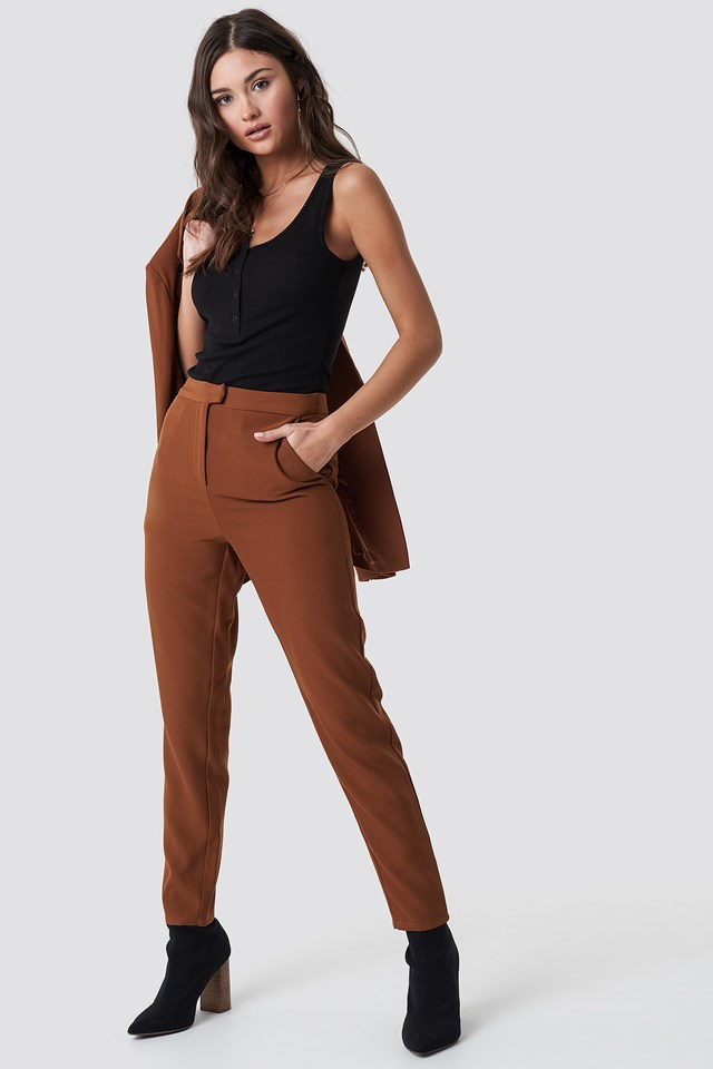 Tailored Suit Pants Brown