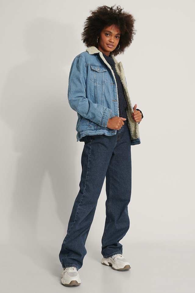 Teddy Fur Denim Jacket Mid Blue
