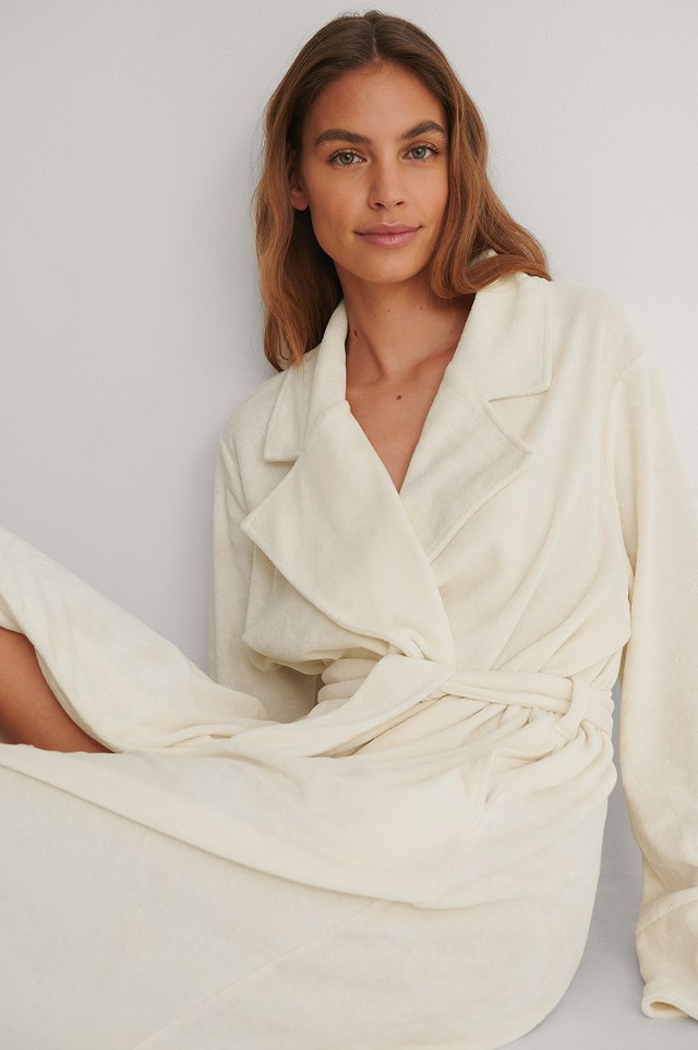 Off White Terry Cloth Robe