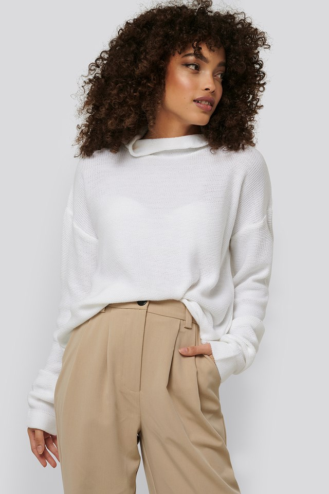 Thin Plain Knit Turtlneck Sweater White