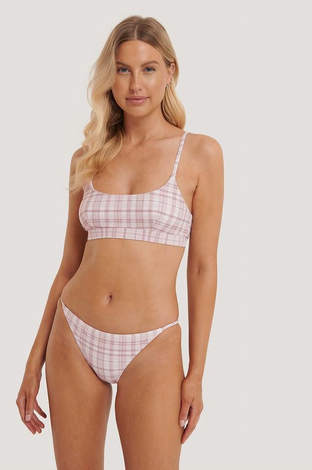 Pink Check Thin Strap Bikini Briefs