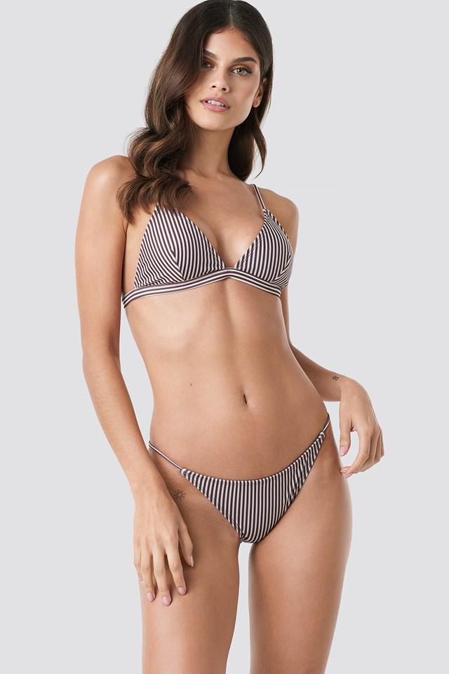 Brown Stripe Thin Strap Bikini Briefs