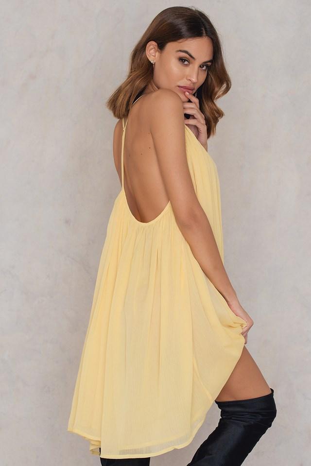 Thin Strap Chiffon Dress Light Yellow