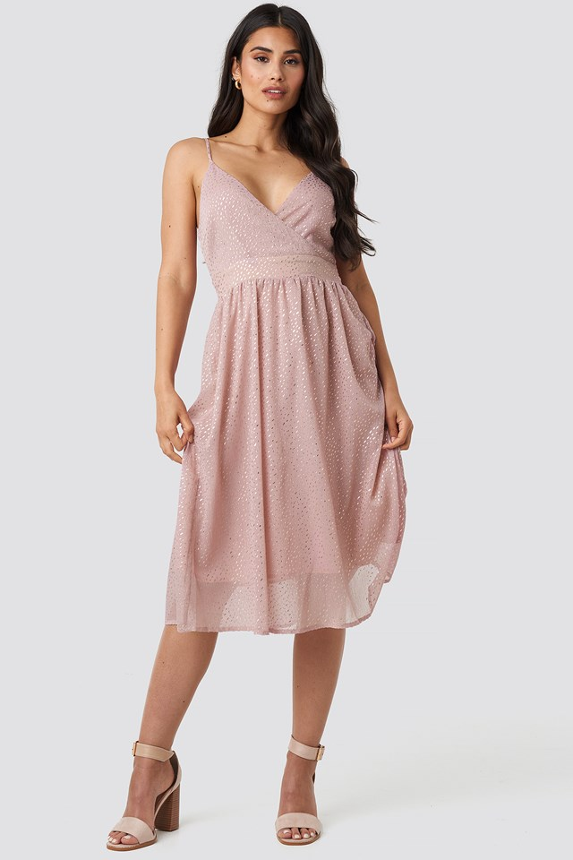Thin Strap Dotted Chiffon Dress Nude Pink