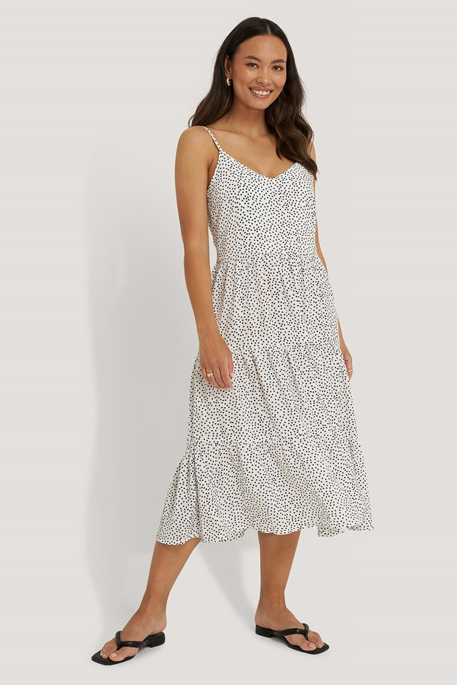 Dot Print Thin Strap Layered Dress