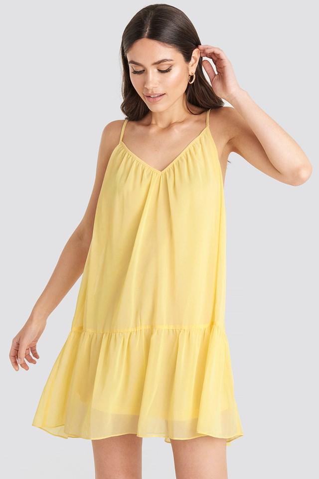Light Yellow Sukienka Z Cienkimi Sznurowaniami