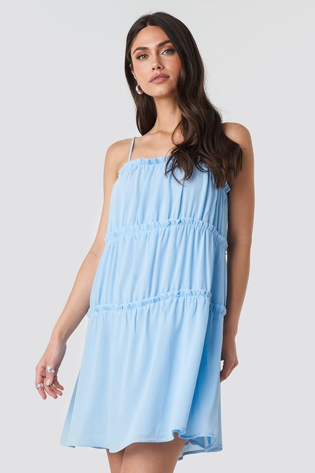 Thin Strap Tiered Mini Dress Light Blue