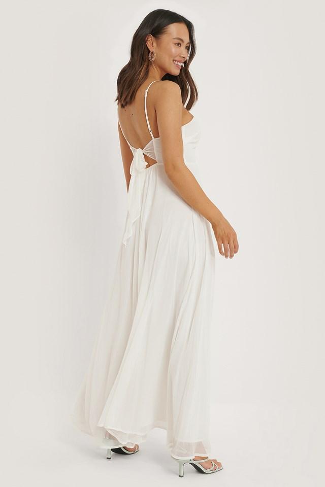 Offwhite Sukienka Maxi Wiązana Z Tyłu