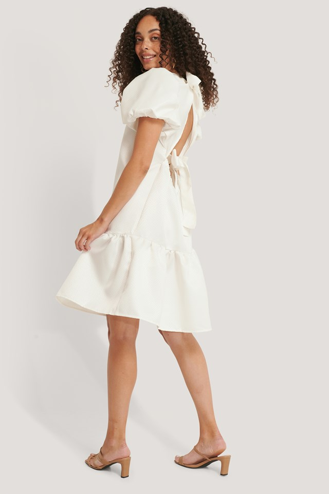 Tie Back Structured Dress White