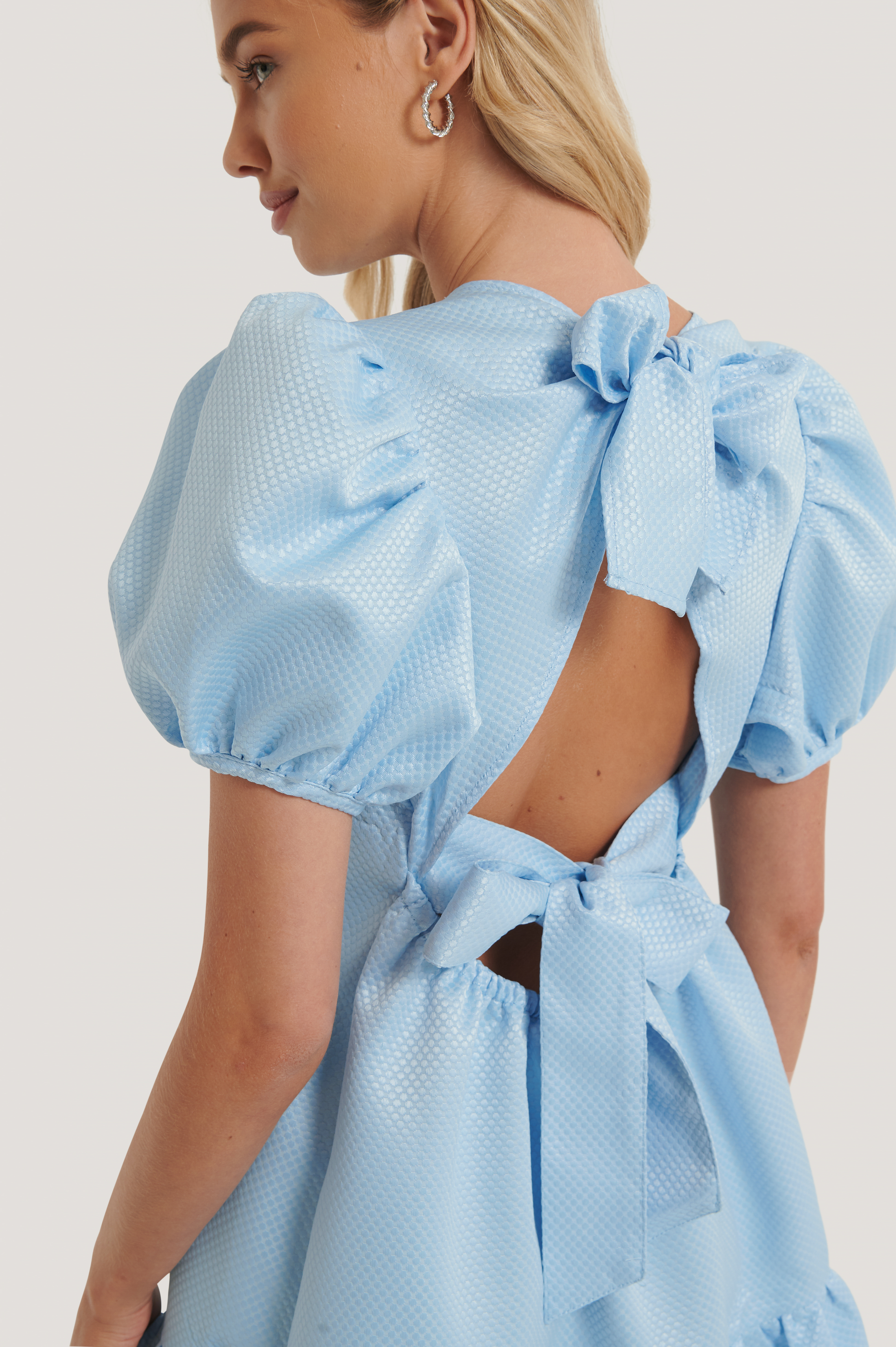 Blue Tie Back Structured Dress