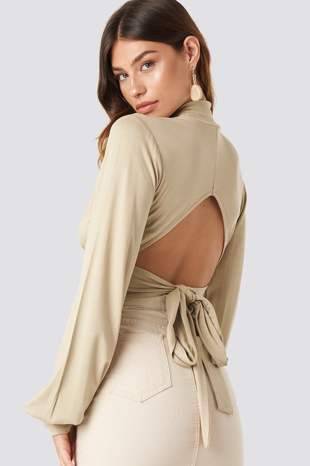 Tie Back Turtle Neck Top Beige