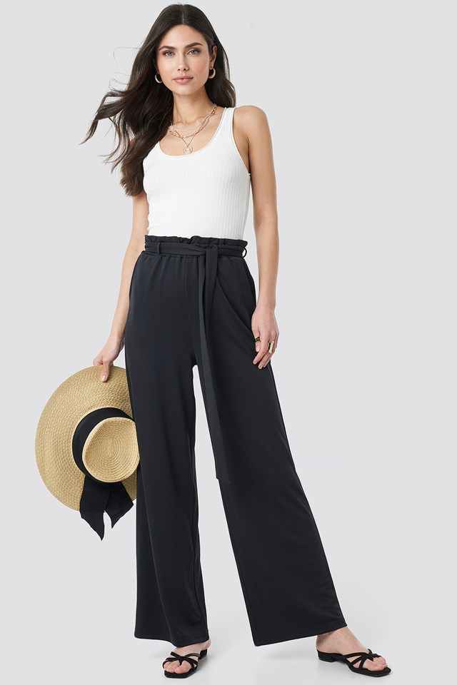 Black Tie Detail Paperbag Wide Pants