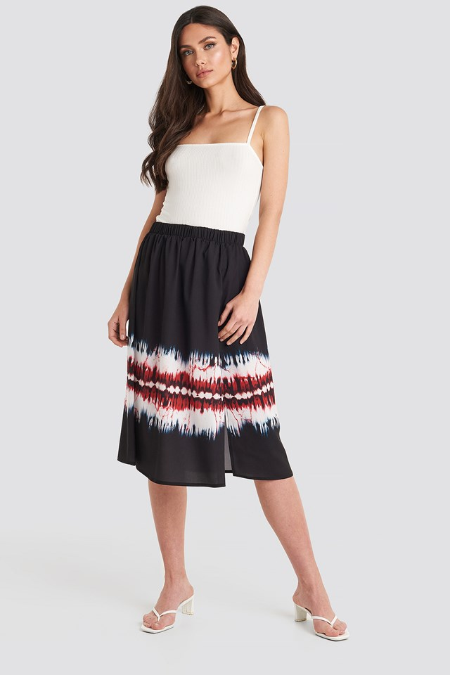 Multicolor Tie Dye Print Side Split Skirt