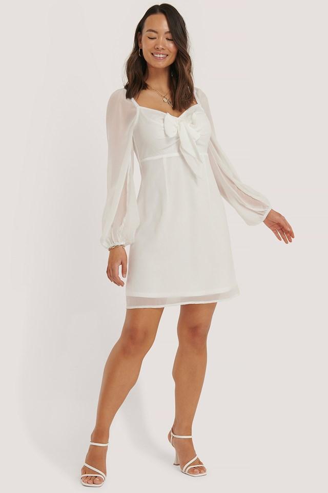 White Sukienka Z Wiązaniem Z Przodu