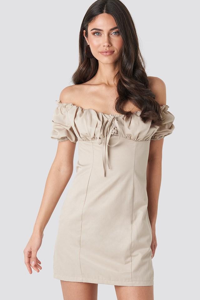 Tie Front Off Shoulder Mini Dress Beige