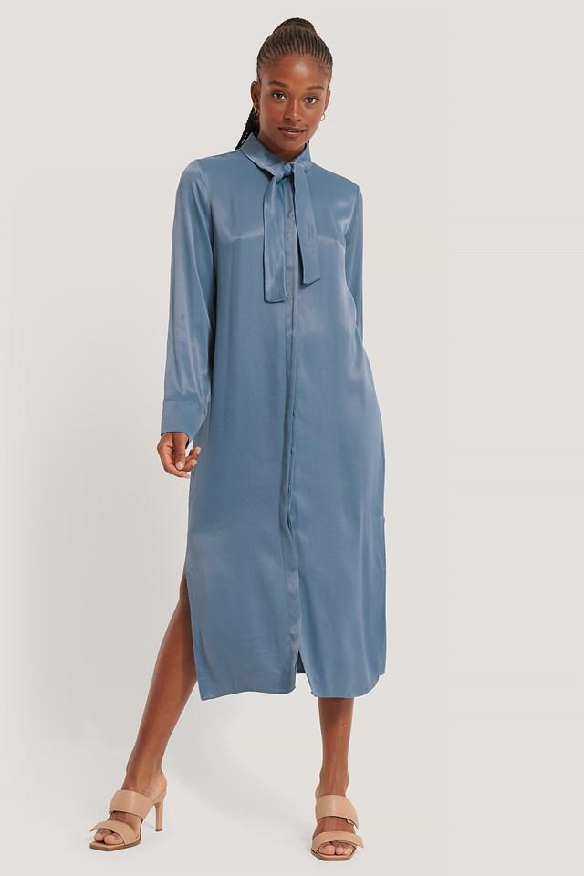 Tie Neck Shirt Dress Blue