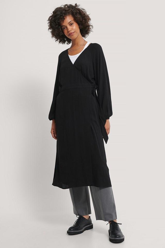 Tie Overlap Midi Dress Black