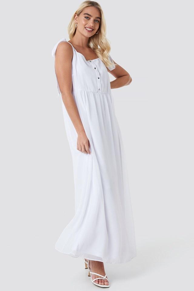 Tie Shoulder Maxi Dress White