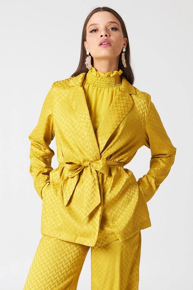 Tie Waist Jacquard Blazer Yellow