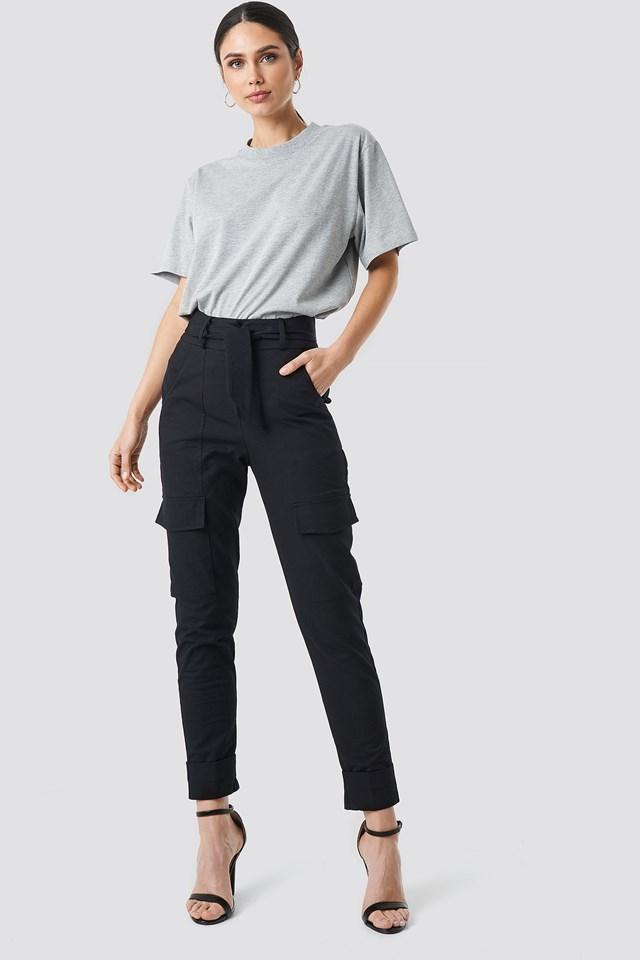 Tie Waist Patch Pocket Pants Black