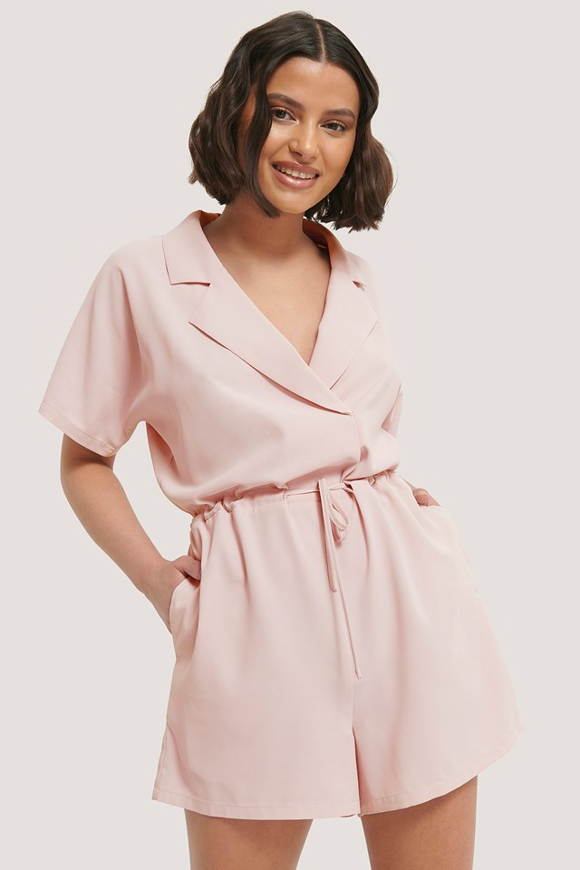 Tie Waist Playsuit Dusty Pink