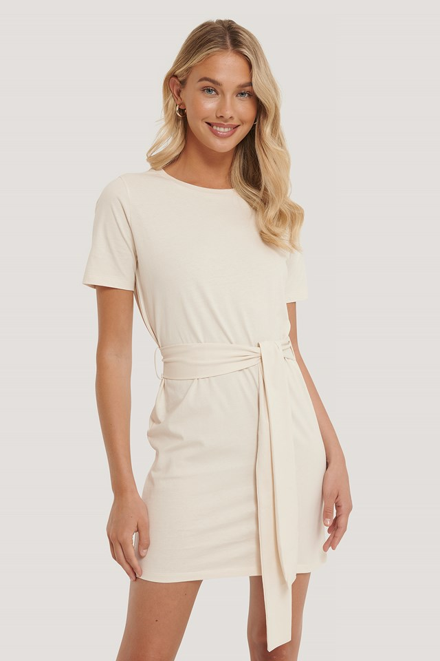 Tie Waist T-shirt Dress Off White