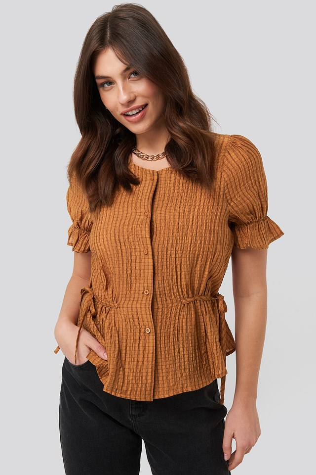 Tied Detail Puff Sleeve Blouse Rust